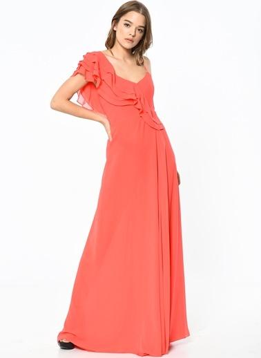 Omuz Detaylı Askılı Abiye Elbise-Koton
